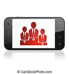 concept:, smartphone, χρηματοδοτώ , αρμοδιότητα εργάζομαι αρμονικά με