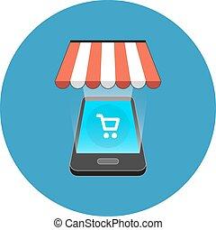 concept., smartphone, achats, isométrique, design.