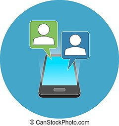 concept., smartphone, isométrique, bavarder, design.