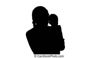 concept, smartphone., mère, multi-tasking, heureux, appeler...