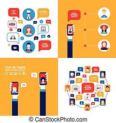 concept, smartphone, réseau, communication, remettre ensemble, tenue, social, technologie, bannière