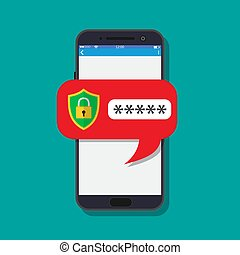 concept, smartphone, sécurité