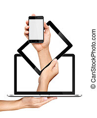 concept, smartphone, tablet pc, en, draagbare computer, in, handen