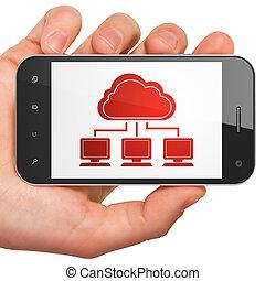 concept:, smartphone, technologie, réseau, nuage