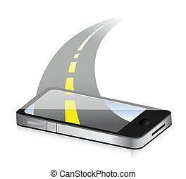 concept., smartphone, tecnología, camino