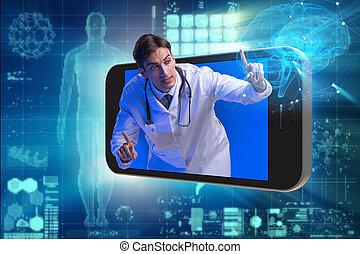 concept, smartphone, telemedicine, docteur