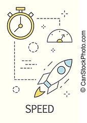 concept, snelheid, illustratie