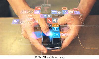 concept., sociaal, netwerk, media