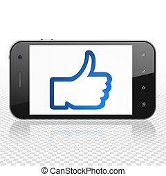 concept:, social, exposer, réseau, smartphone, pouce haut