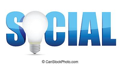 concept, social, média, et, lampe