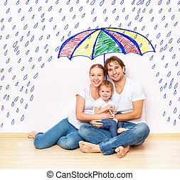 concept: social protection of family. family took refuge from miseries and rain under umbrella