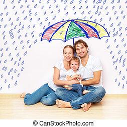 concept:, sociale, beskyttelse, i, family., familie, bragte, ly, af, miseries, og, regn, under, paraply