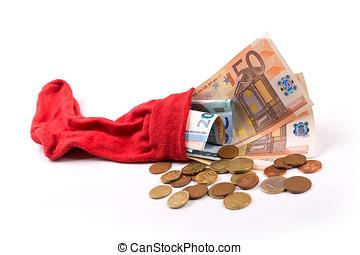 concept, sok, geld, -, spaarduiten, pensioen, eurobiljet