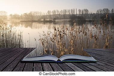concept, soleil, lac, livre, paysage, brume, levers de soleil, lueur