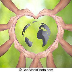 concept:, solidaritet, människa lämnar, internationell, form, dag