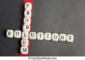 concept, solution., kruising, alfabet, bevinding, houten, probleem, uit