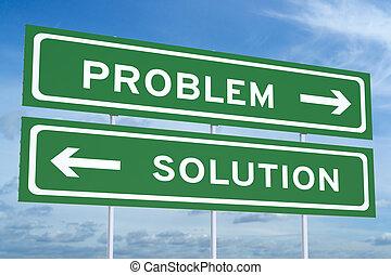 concept, solution, signes, problème, ou, route