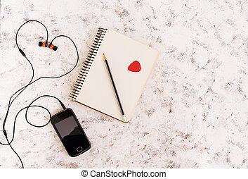 concept, sommet, arrière-plan., cahier, musique, blanc, vue