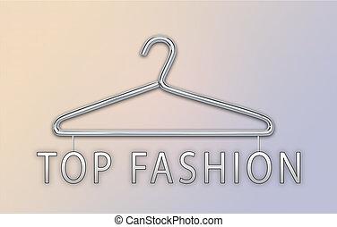 concept, sommet, mode, cintre, bannière, vêtements