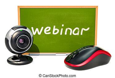 concept, souris, webinar, tableau noir, rendre, informatique, webcam., 3d