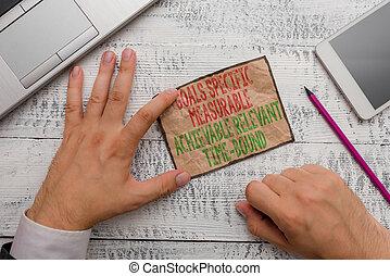 concept, spécifique, texte, ac., specif, measureable, écriture, buts, measurable, achievable, pertinent, bound., signification, temps