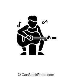 concept, speler, vrijstaand, illustratie, meldingsbord, gitaar, achtergrond., vector, black , pictogram, symbool