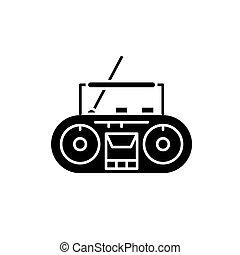 concept, speler, vrijstaand, illustratie, meldingsbord, registreren, vector, black , achtergrond., pictogram, symbool