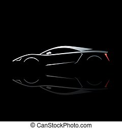 Concept sport car silhouette with reflection. Can be used as symbol of auto club, racing team, automotive engineering company. Stylized vector illustration on black background.