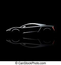concept, sportende, auto, silhouette, met, weerspiegeling.