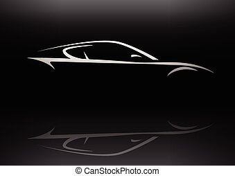 Concept sports car silhouette - Conceptual sports car...