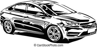 Concept Sportscar Vehicle Silhouette vector illustration