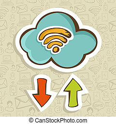concept, spotprent, wolk, gegevensverwerking