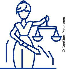 concept., sprawiedliwość, kreska, wektor, symbol, płaski, ikona, znak, statua, szkic, illustration.