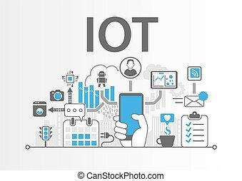 concept, spullen, iot, illustratie, vector, internet