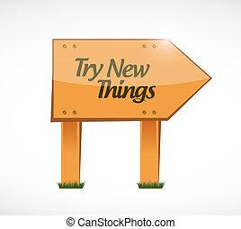 concept, spullen, meldingsbord, bewjizen, hout, nieuw