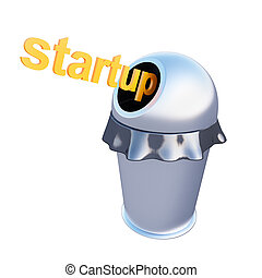 concept startup is thrown into the trash bin. 3d rendering