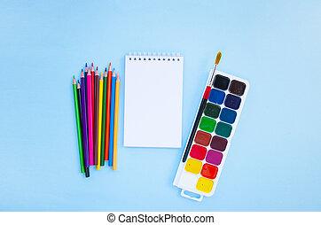 concept., stationery., school, set, back