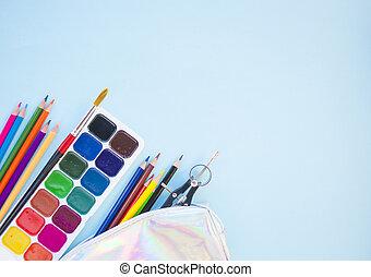 concept., stationery., set, back, school