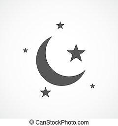 concept, ster, illustration., maan, vector, nacht, icon., sleep.