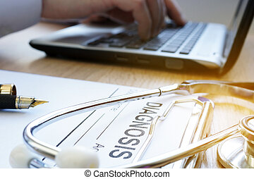 concept., stethoscope., docteur, ordinateur portable, telemedicine
