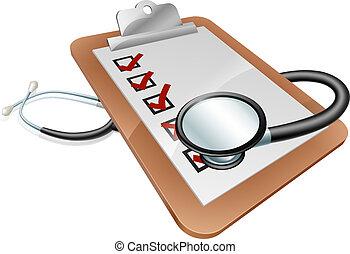 concept, stethoscope, klembord