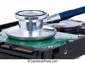 concept, stethoscope, medisch, hdd, computer