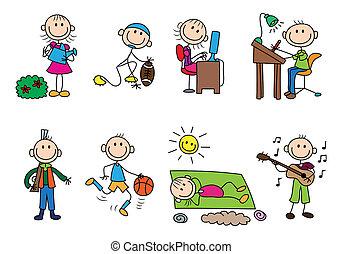 concept, stickman, variëteit, activiteit