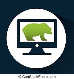 concept stock exchange bear icon design