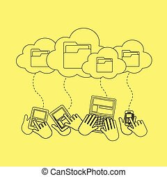 concept, stockage, nuage