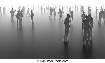 concept, straat, menigte