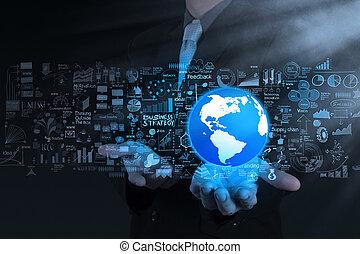 concept, stratégie commerciale, homme affaires, mondiale, main