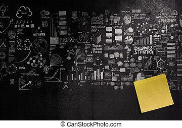 concept, stratégie commerciale, note, fond, vide, main, dessiné, collant