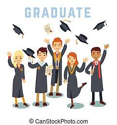 concept, students., université, jeune, remise de diplomes, diplômé, vecteur, education