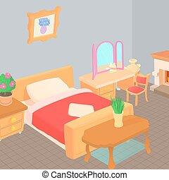 concept, style, dessin animé, meubles